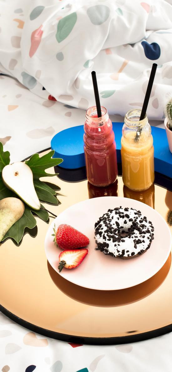 甜甜圈 果汁 草莓  精致
