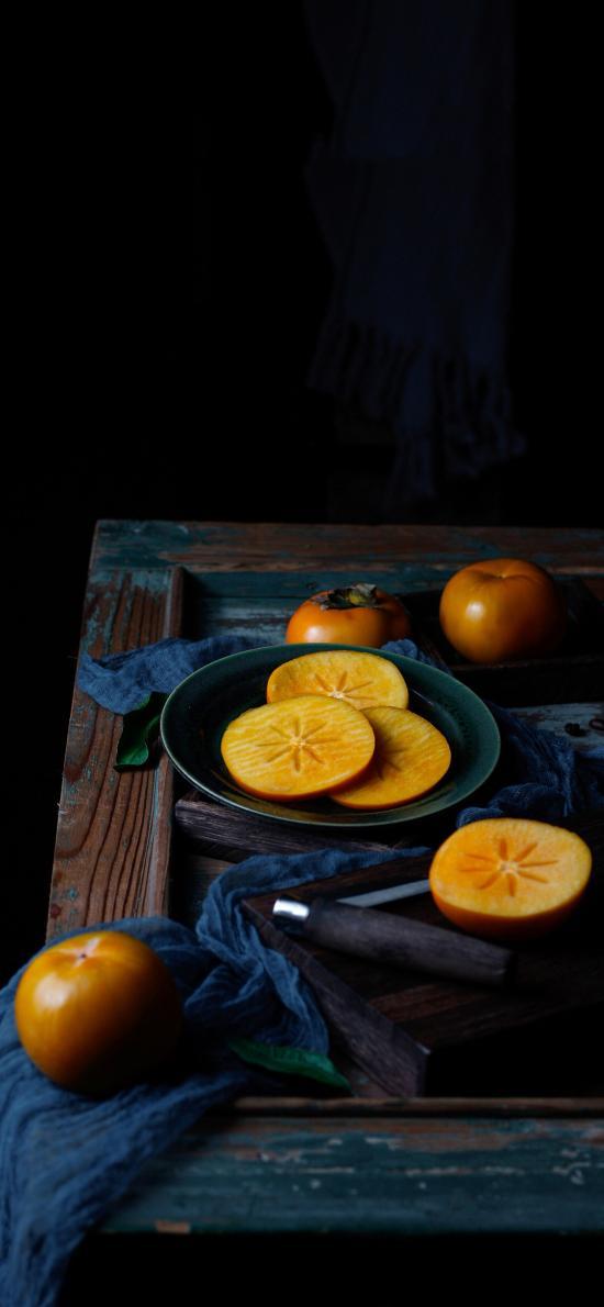 柿子 水果 切片 布