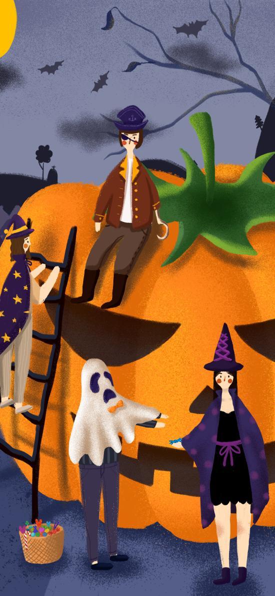 万圣节 南瓜灯 插画 巫女 装扮