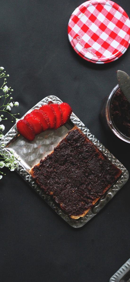 糕点 蛋糕 草莓 果酱 甜品