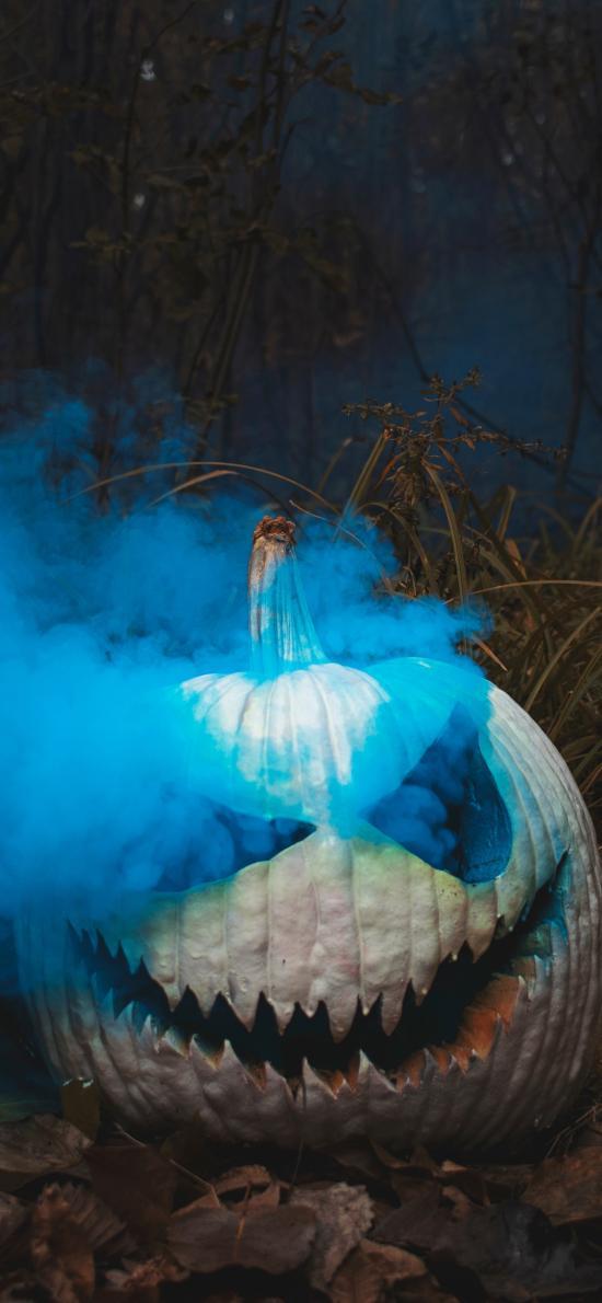 万圣节 南瓜头 烟雾 雕刻