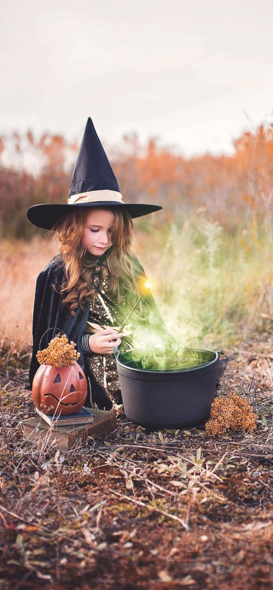 欧美 小女孩 巫师 万圣节