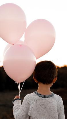 气球 男孩 背影  小孩