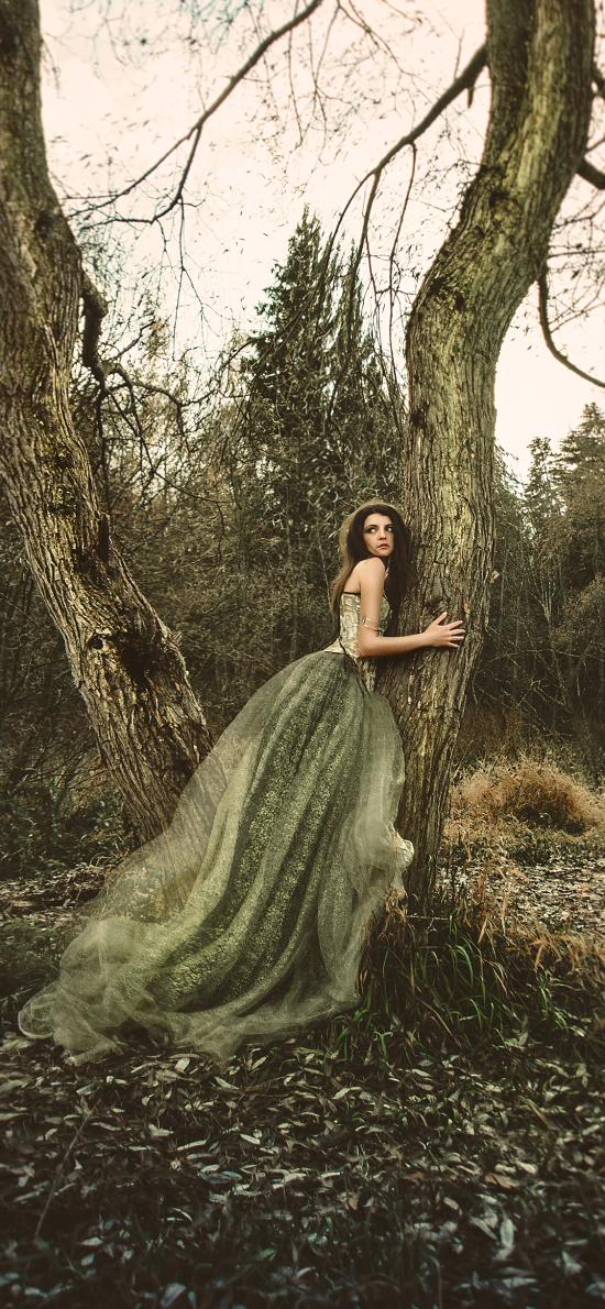 拍摄 艺术 野外 落叶 树干 女孩