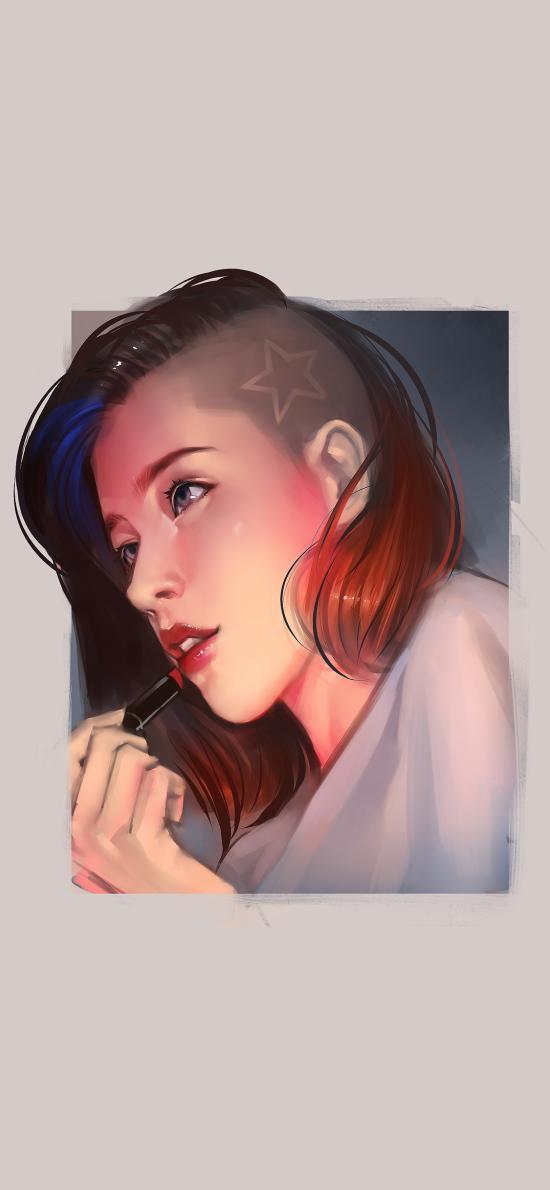 手绘 女孩 个性 五角星 剃发