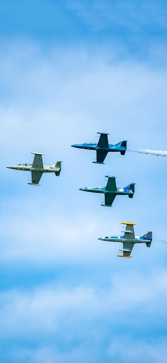 飞机 飞行 蓝色 烟雾 排列 航空
