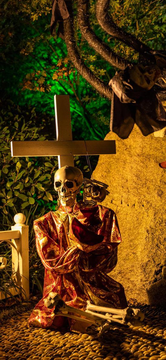 装饰 万圣节 十字架 骨架 骷髅头