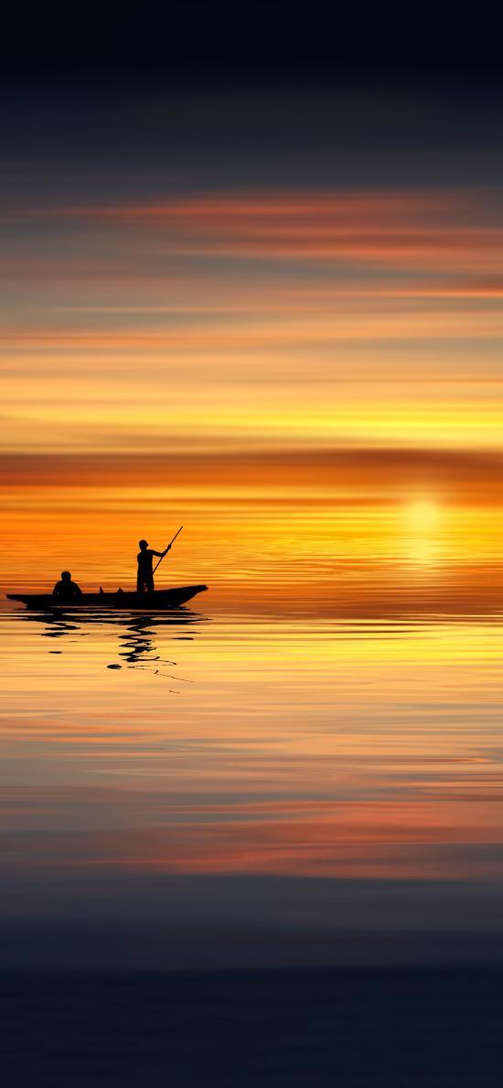 自然 落日 小船 唯美