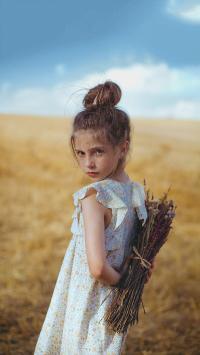 小女孩 欧美 丸子头 郊外 干花 儿童