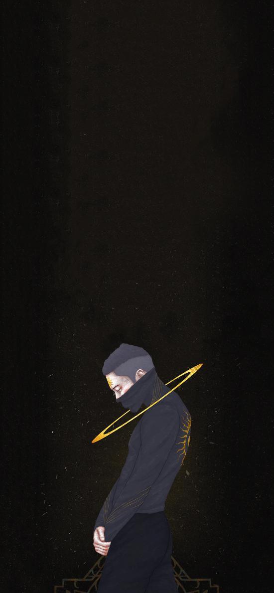 白帝插画 男孩 侧面 金色光圈