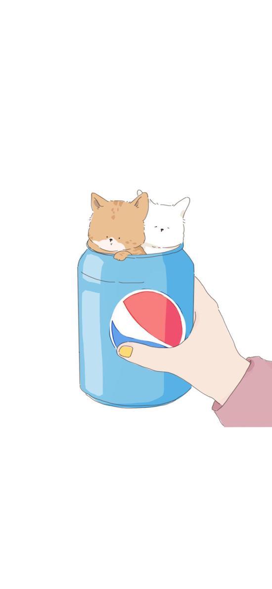 卡通 情侣 猫咪 百事可乐