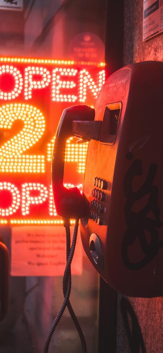 电话亭 公共 夜晚 招牌 24小时营业
