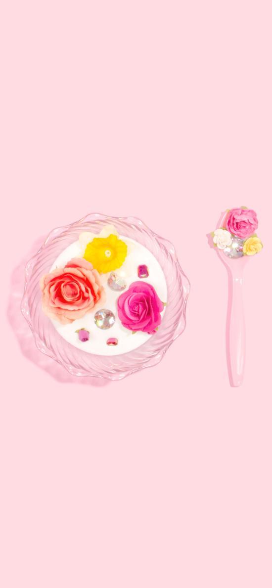 粉色背景 甜品 鲜花 蛋糕