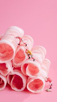 肉卷 攀爬 小人偶 组合 粉色