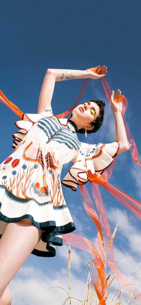欧美 模特 写真 妆容 丝巾