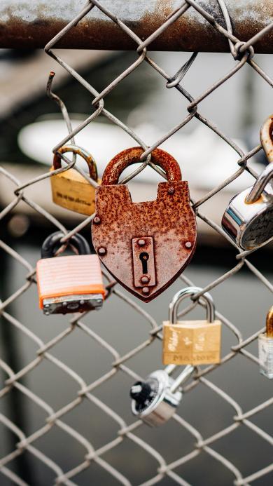 钢丝网 同心锁 爱情 情谊