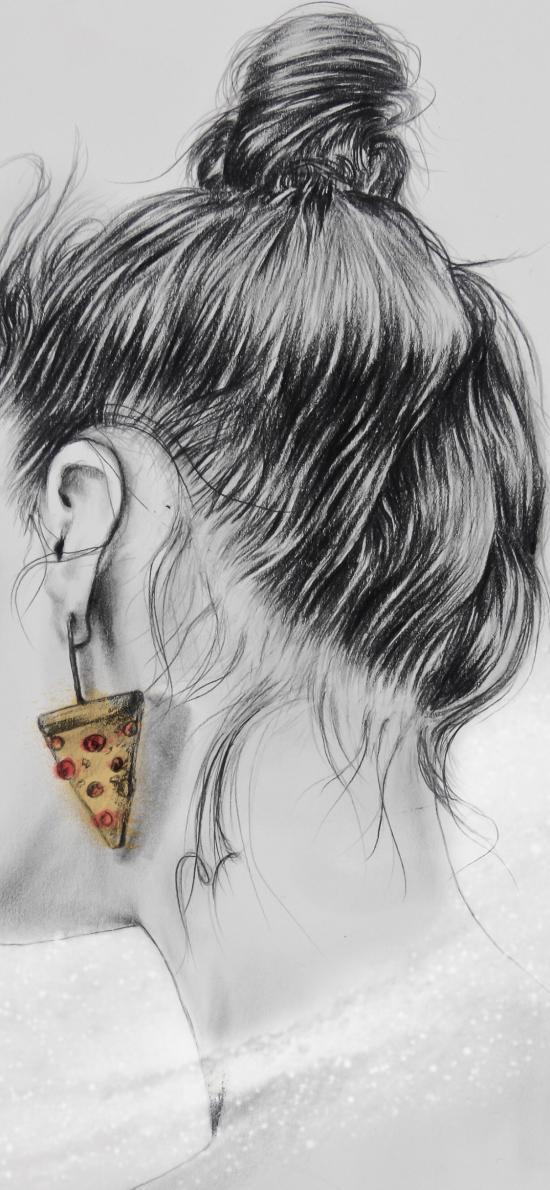 插画 绘画 黑白 耳饰 披萨 后脑勺