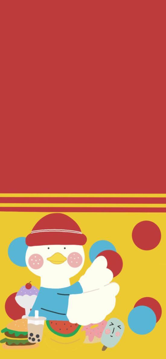 色彩 鸭子 可爱 Q版