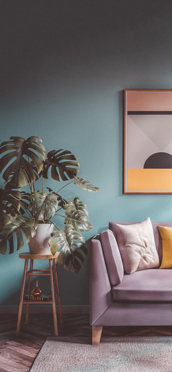室内 沙发 盆栽 龟背竹 装饰 软装