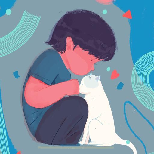 感恩节 男孩 猫咪 插画