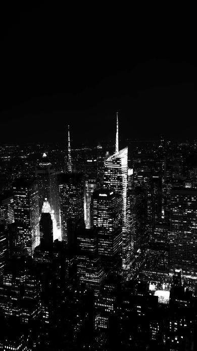 黑白 夜景 城市 夜晚 灯光
