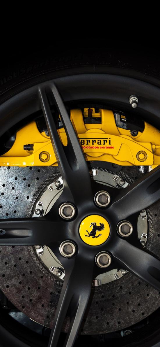 法拉利 轮胎 黑色 跑车