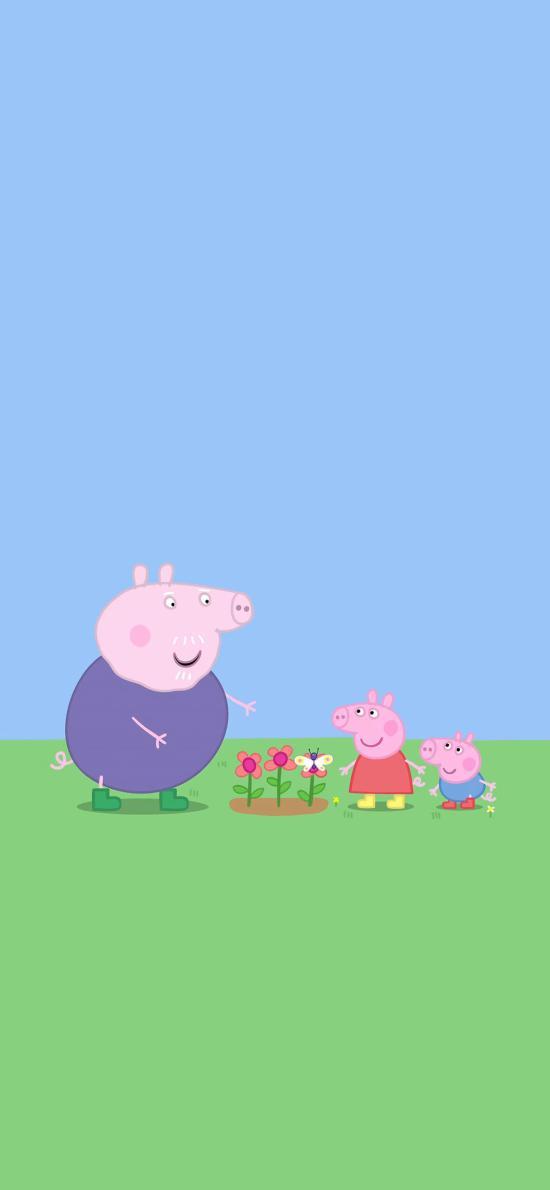 小猪佩奇 乔治 动画 卡通 可爱 猪爷爷 蝴蝶