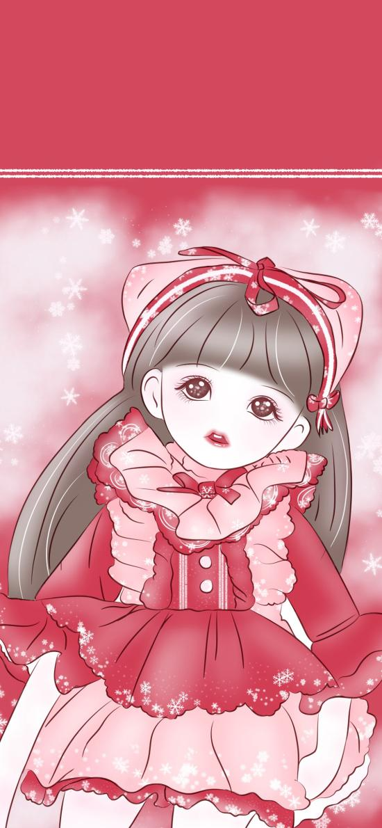 二次元 萝莉 粉色系 雪花
