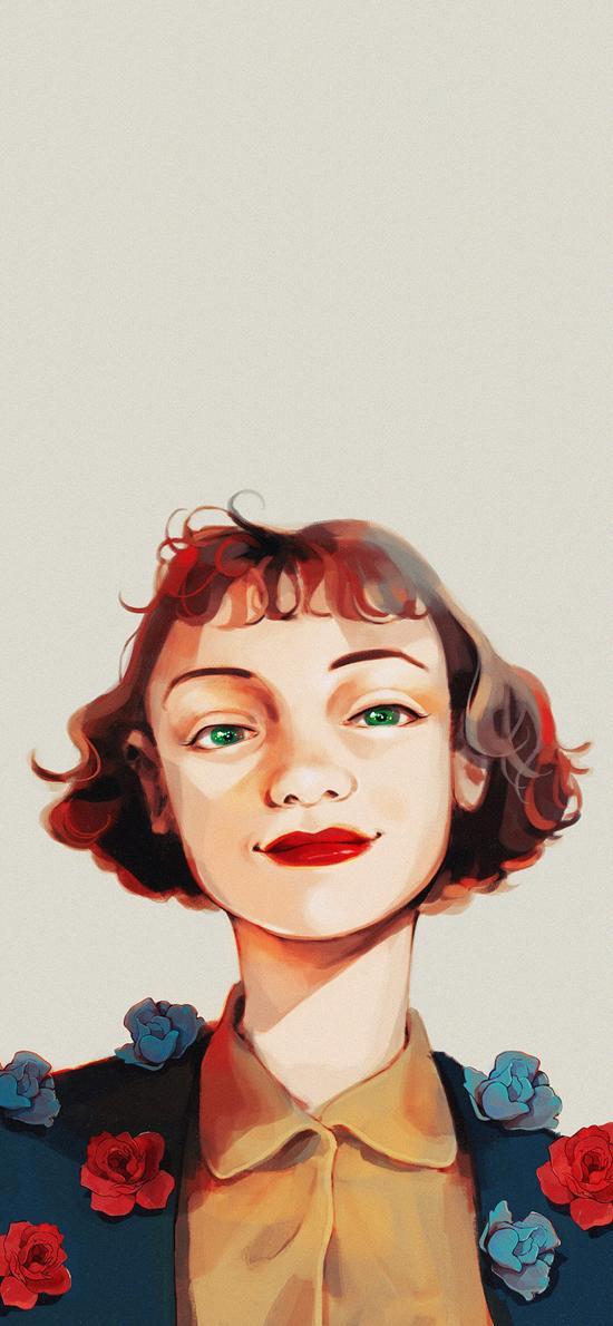女孩 插画 复古美 妆容