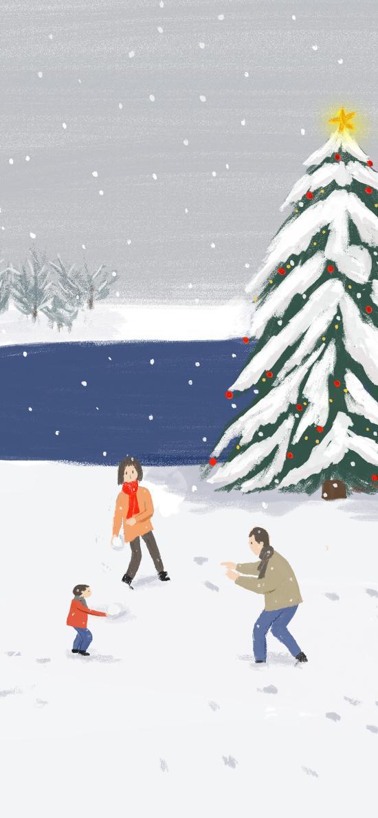 打雪仗 下雪 冬季 圣诞树 插画