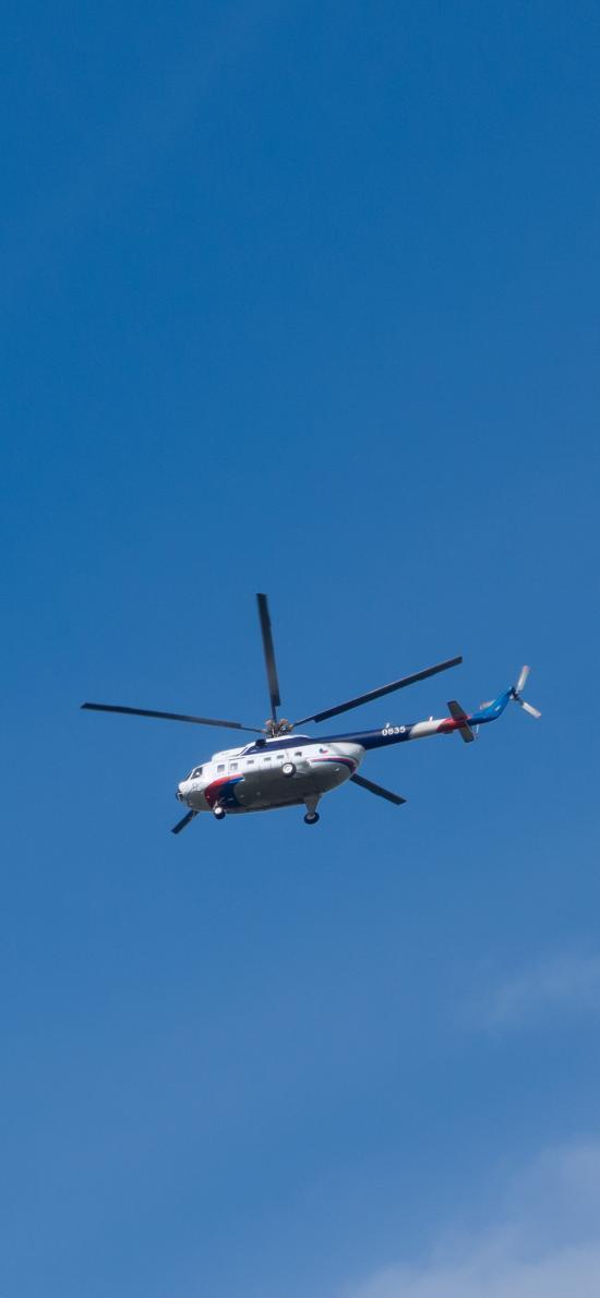 直升机 飞机 飞行 航空 蓝色