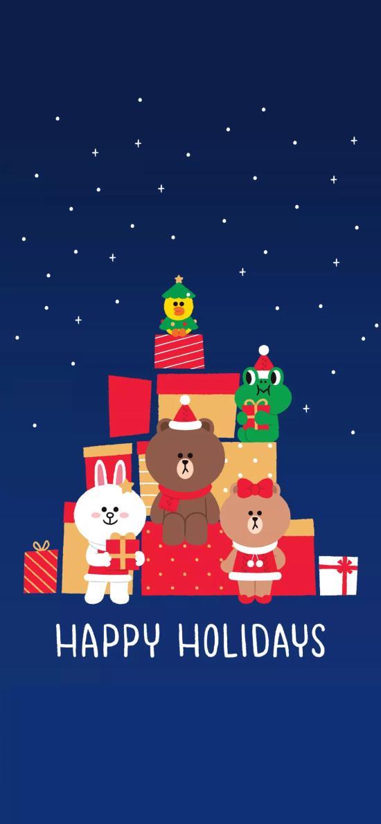 圣诞 linefriends 布朗熊 可妮兔 雪花 礼物