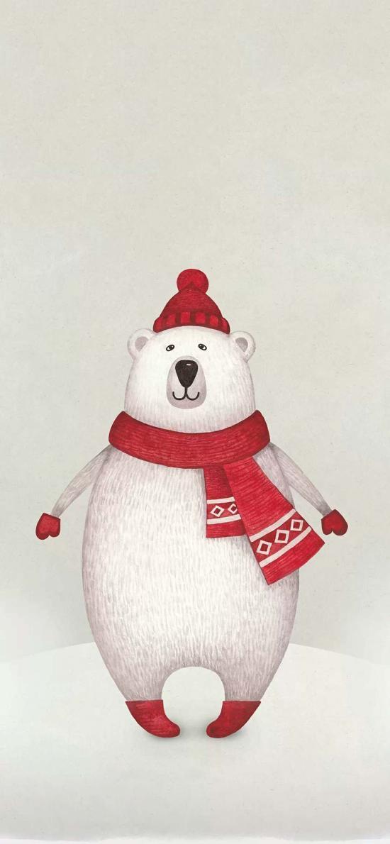 手绘 北极熊 可爱 红帽子
