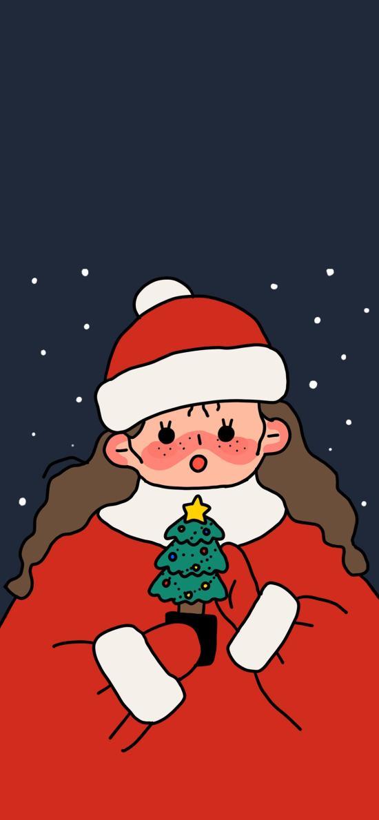 圣诞 女孩 插画 雪