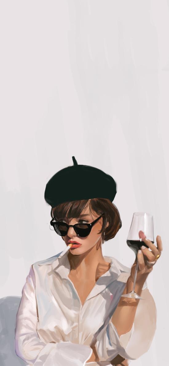 女孩 插画 欧美 抽烟 红酒
