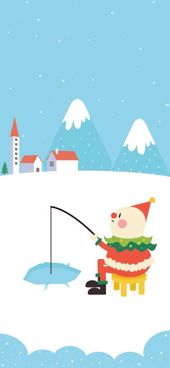 圣诞节 雪人 钓鱼 Merry Christmas