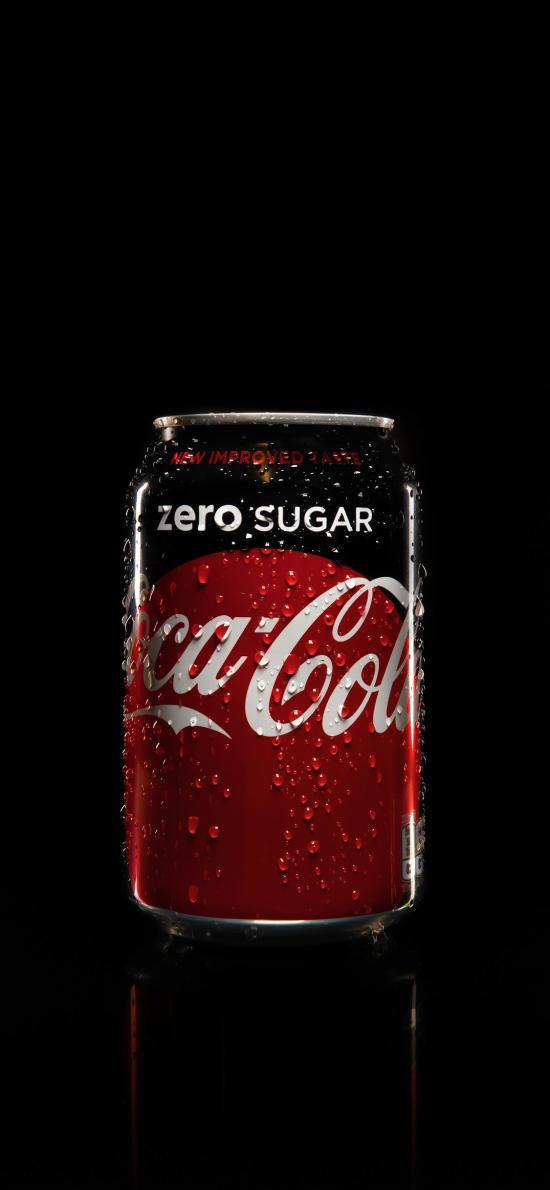 可口可乐 无糖 汽水 铝罐 水珠
