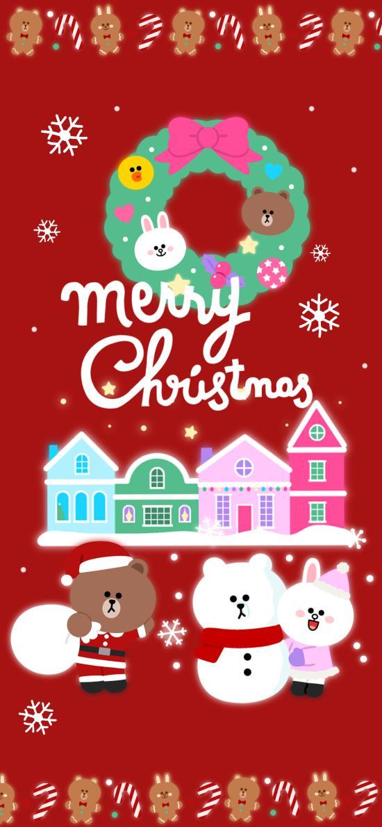 节日快乐 linefriends 红色 圣诞节 布朗熊 可妮兔 雪人