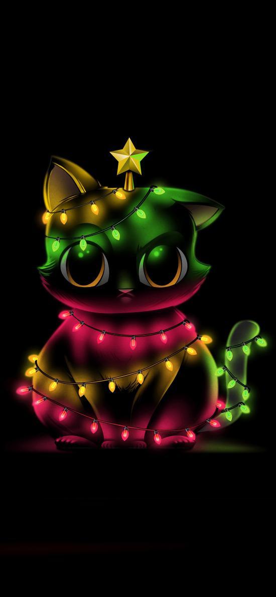 猫 彩灯 节日 庆典 圣诞