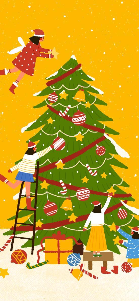 圣诞节 圣诞树 装饰 插画 黄色