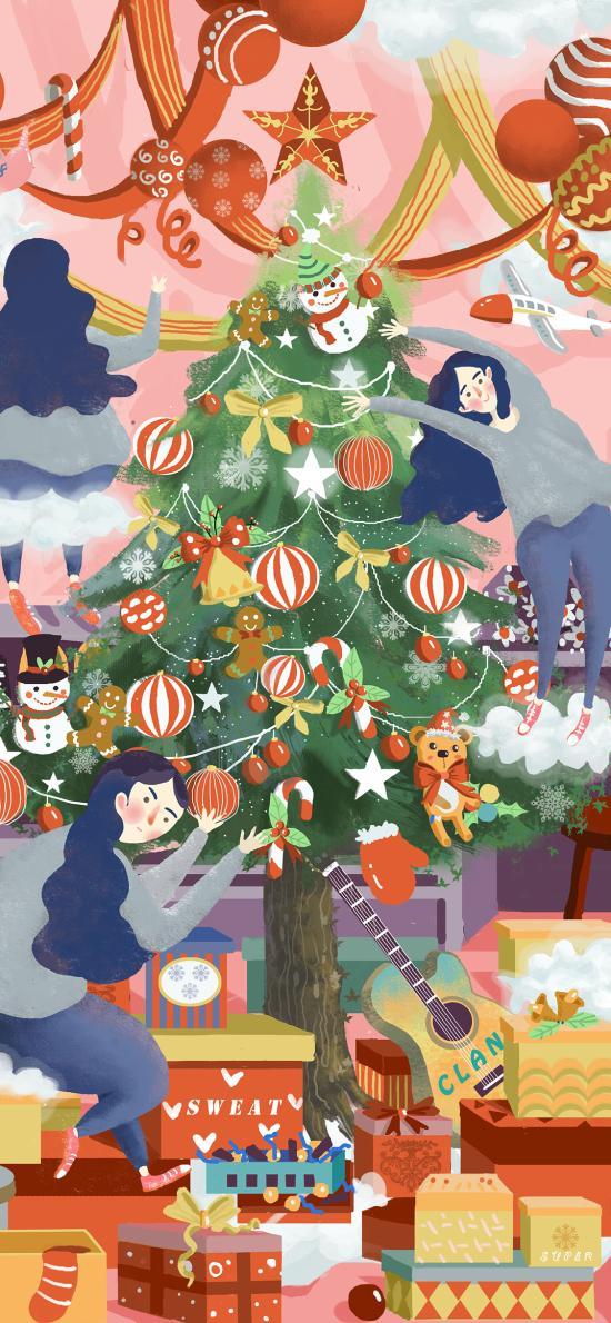 圣诞节 装饰 圣诞树 女孩