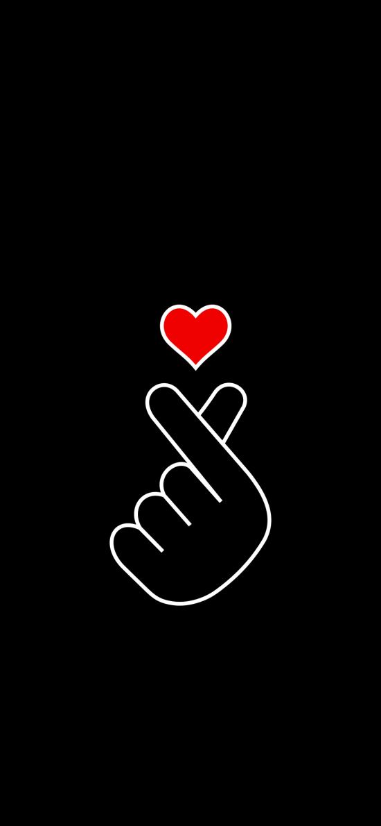 比心 手势 爱心 黑色