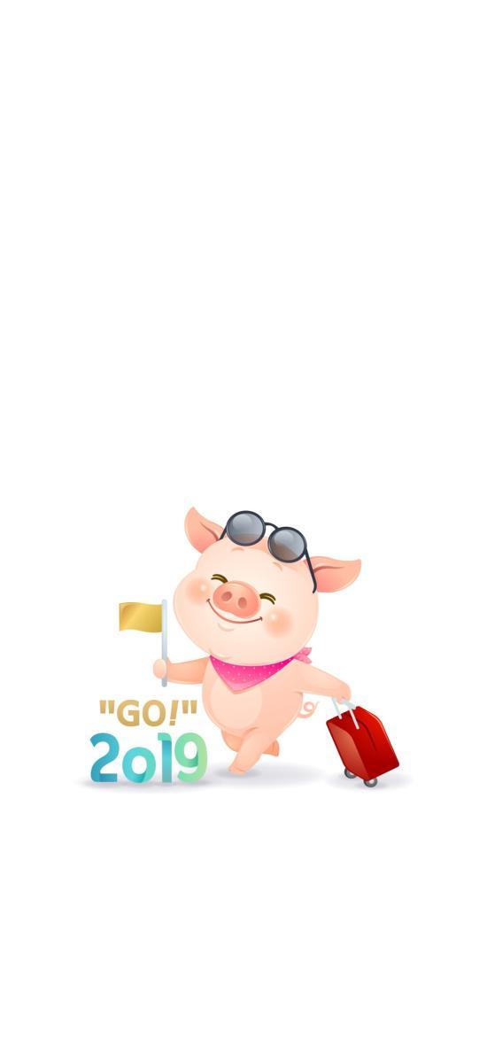 卡通 猪猪 新年 2019