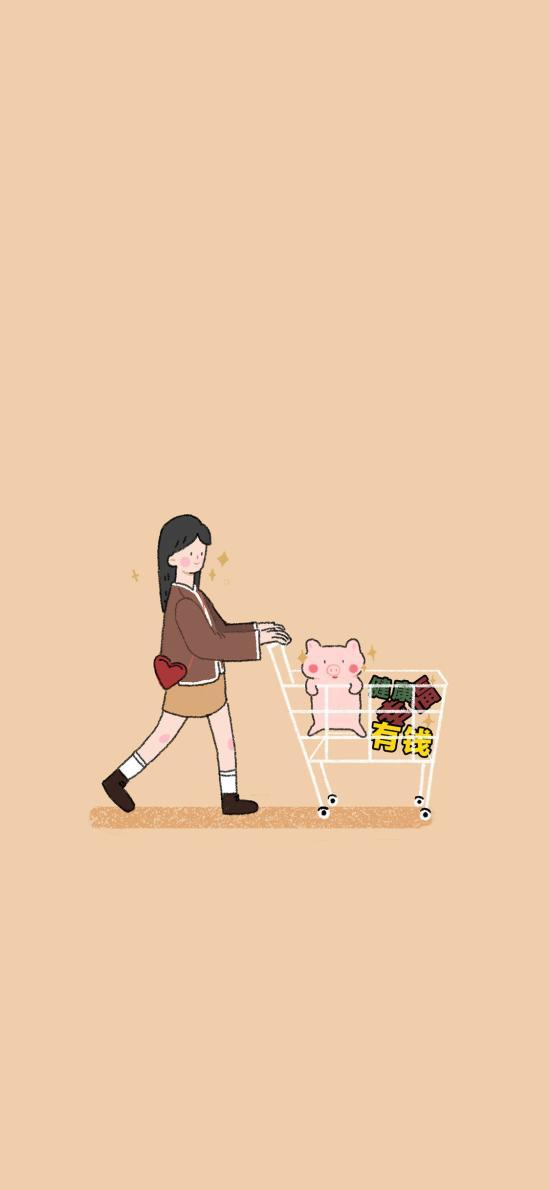 购物车 猪 健康 幸福 有钱 插画 女孩