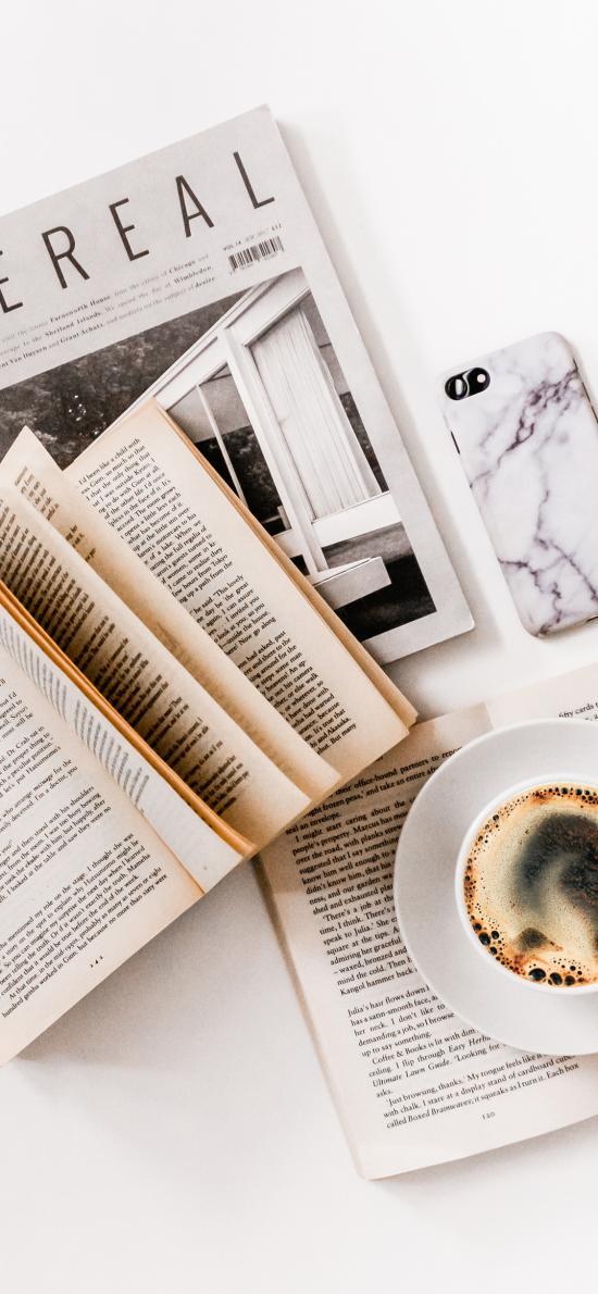 书籍 静物 咖啡 杂志 手机