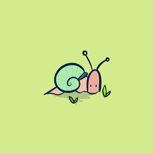 蜗牛 简笔画 插画 可爱