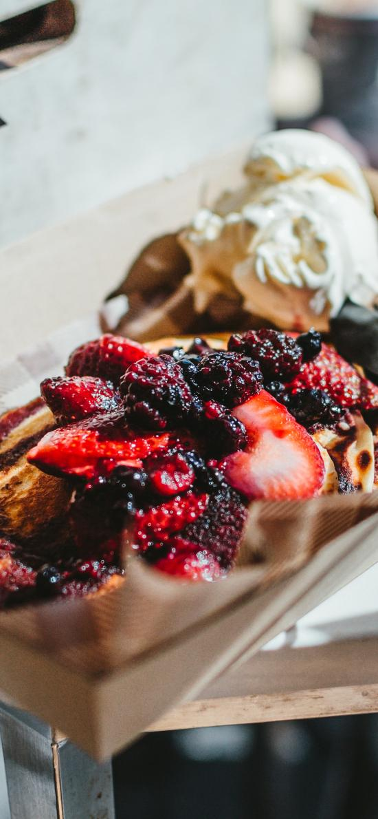 甜品 草莓 果酱 吐司 冰淇淋