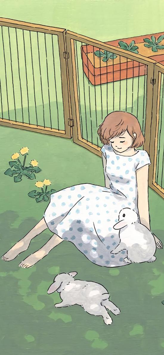 女孩 插画 手绘 兔子 饲养