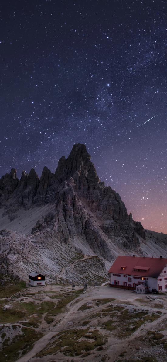 夜景 房屋 星空 山脚