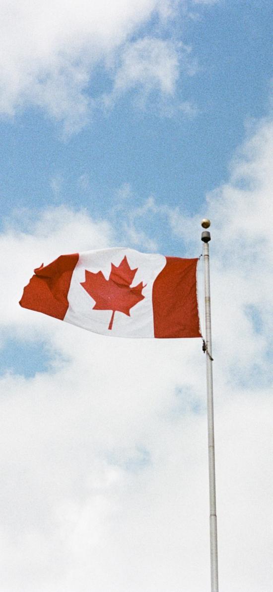 蓝天白云 加拿大 国旗 旗帜